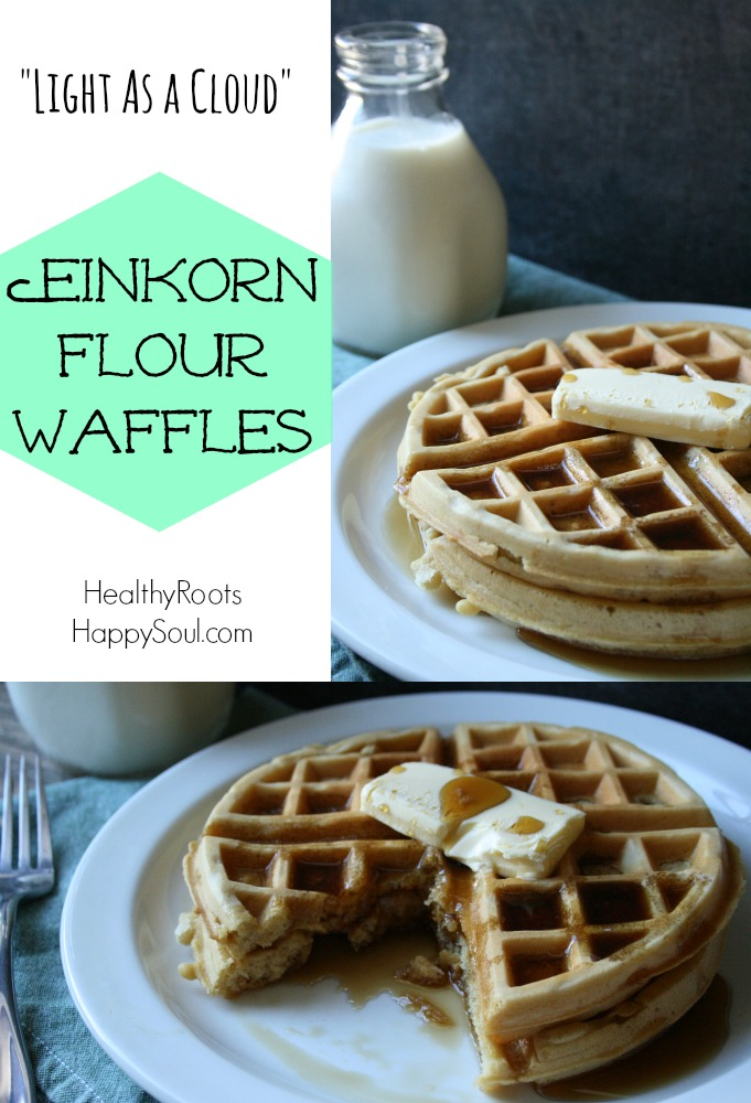 Waffles made with nutritious einkorn flour which are so light and fluffy they remind me of clouds!