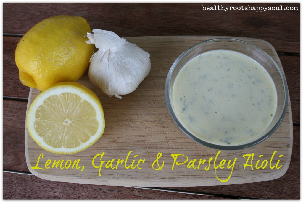 A perfect addition to grilled seafood or salmon cakes. Simple lemon, garlic and parsley aioli