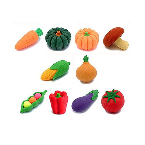 What a cute stocking stuffer gift! Veggie erasers that come apart!