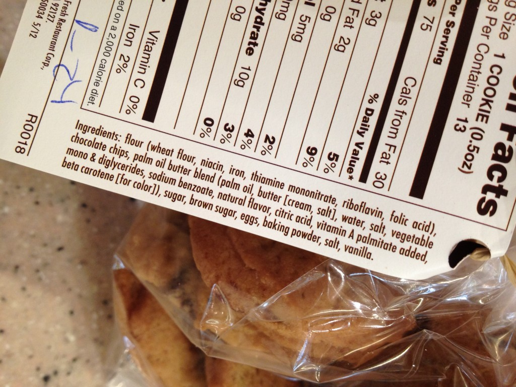 GMOs in Sweet Tomatoes' Chocolate Chip Cookies