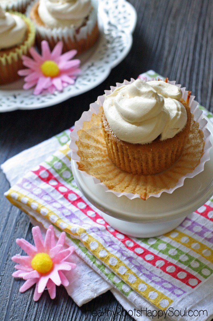 A delicious, moist extra vanilla cupcake with a light and fluffy maple-vanilla buttercream frosting. DELICIOUS!