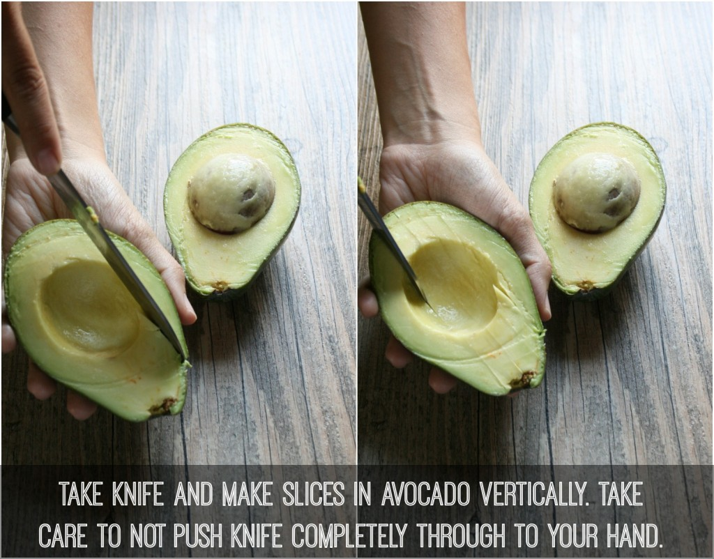 take knife and make slices in avocado vertically