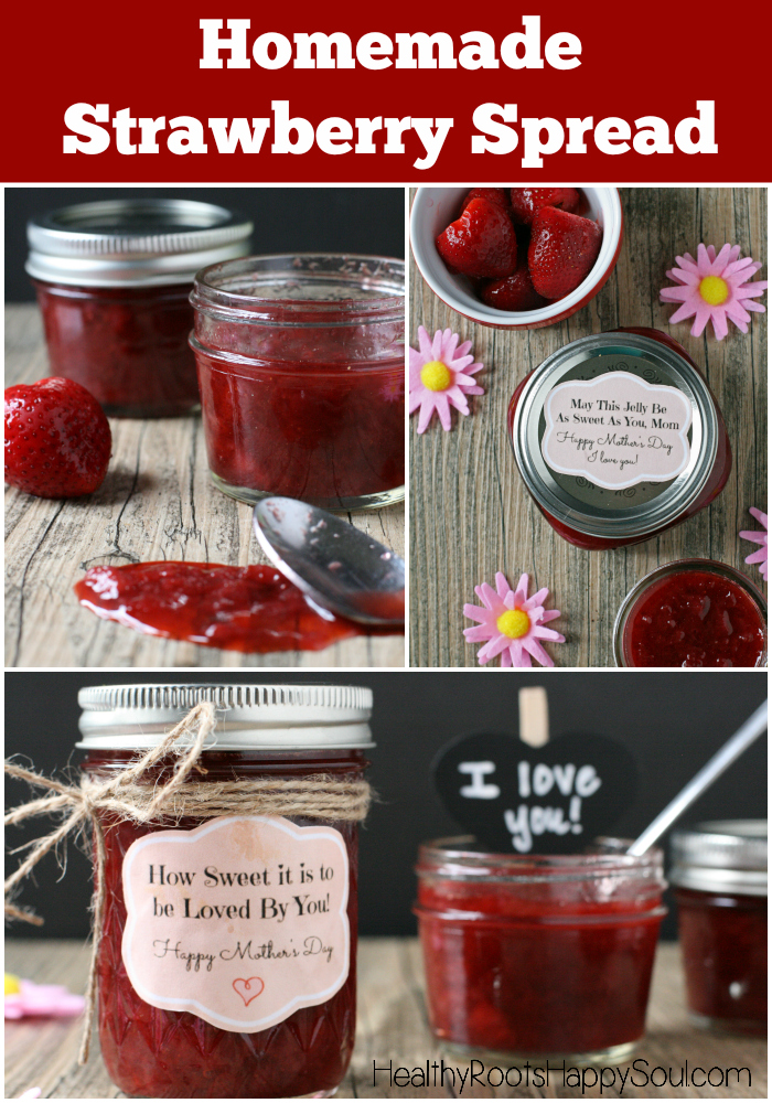 Homemade Strawberry Spread -- so delicious, so fresh tasting and so simple to make! Plus, free printable labels for Mother's Day!