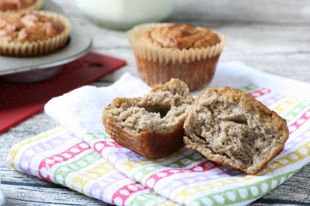 Grain-free banana muffins naturally sweetened with honey & maple syrup with hints of banana and vanilla.
