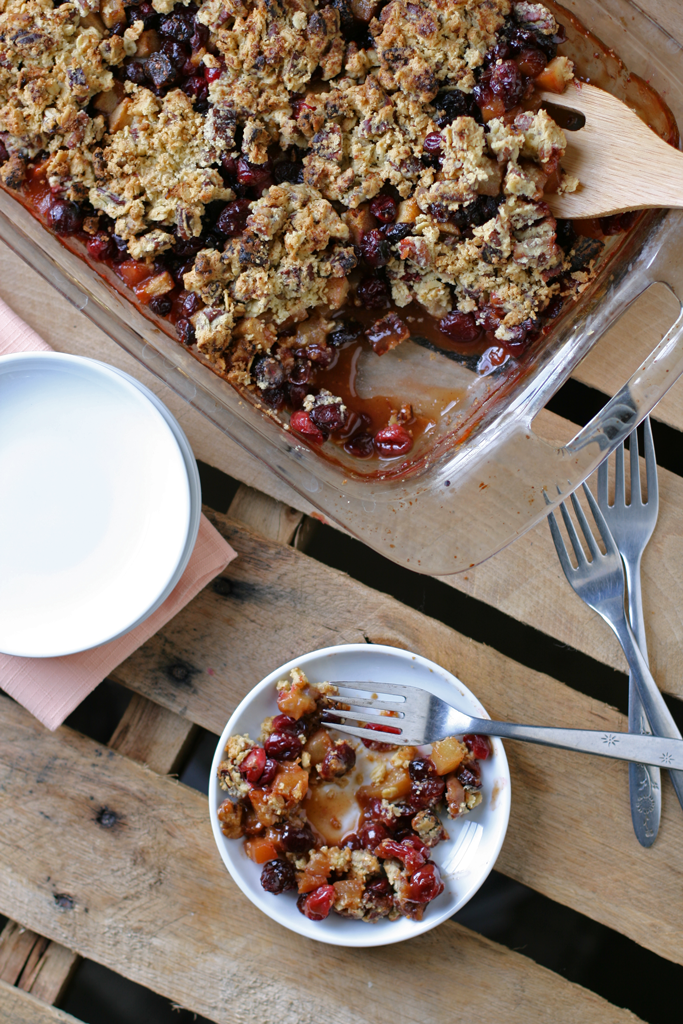 Break the family tradition of always bringing the same dish to Thanksgiving dinner and show up with this deliciously sweet and tart cranberry pear crisp.