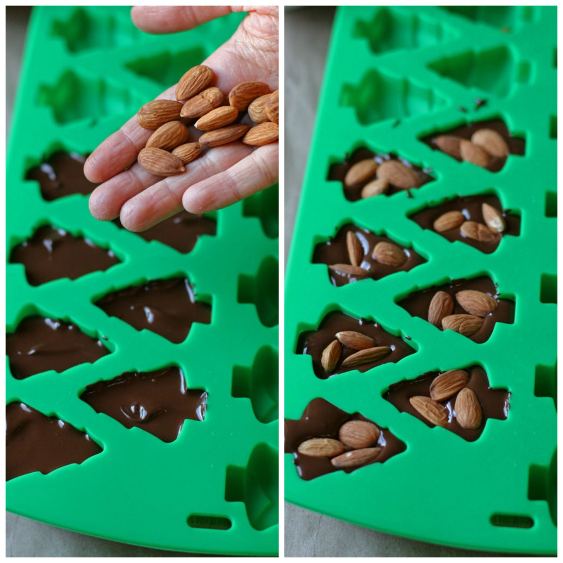 Who doesn't love edible gifts? Give these homemade chocolate covered almonds as a handmade gift this year -- bonus if you put them in Christmas tree molds!