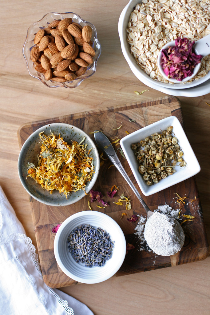Treat yourself to an in-home spa day with this DIY herbal scrub. Made with oats, almonds, two different types of clay and dried roses, lavender, chamomile, calendula.
