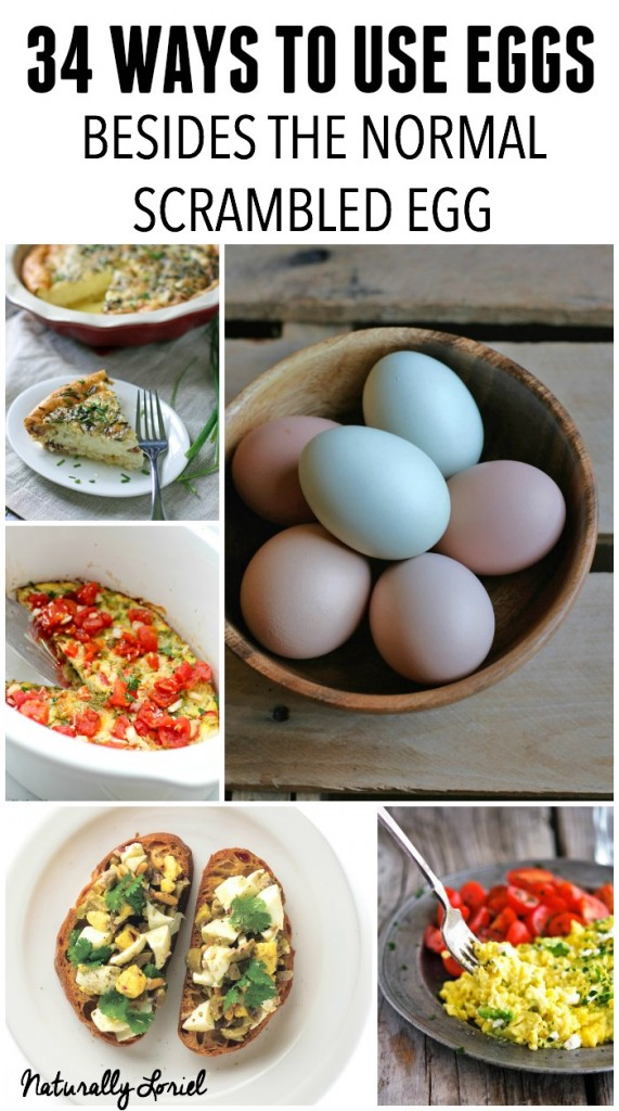 Tired of scrambled eggs? Here are 34 ways to use eggs besides the normal scrambled eggs to add a little fun. Now go on, use those beautiful backyard eggs!