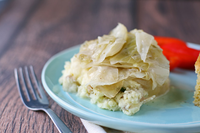 boiled-cabbage-on-top-of-mashed-potatoes