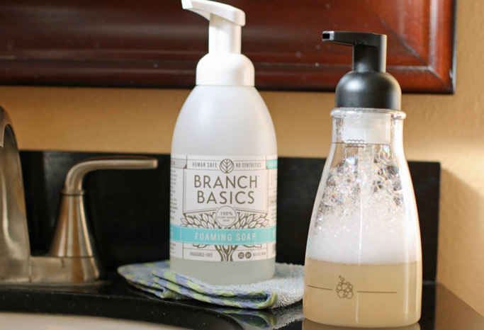 Making non-toxic germ-fighting foam hand soap is one of the easiest things I've ever done in my journey to a more natural lifestyle. Here are 2 easy recipes!