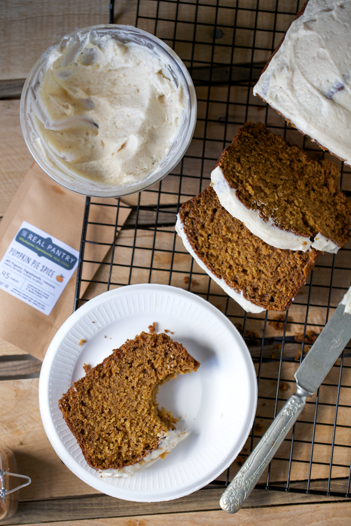 pumpkin einkorn bread with spiced cream cheese frosting