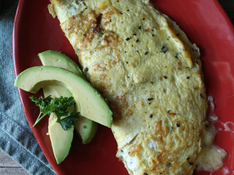 Simple ham & cheese omelet  cooked in basil butter (2)