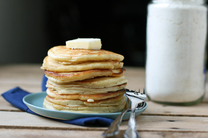 Store-bought baking mixes have partially hydrogenated cottonseed oil, enriched flour, & dextrose - Grab my homemade pancake mix made with real ingredients instead!